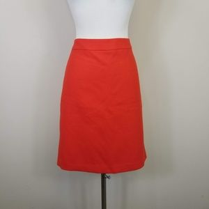 J Crew No 2 Pencil Skirt Double Serge Wool Orange